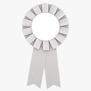 3D model realistic award ribbon gray