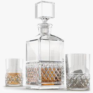 3D crystal set decanter