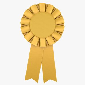 realistic award ribbon gold model