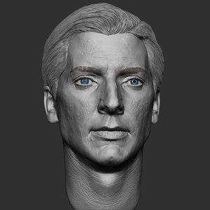 3D caucasian man head