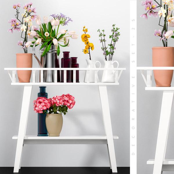 3D model decorative flower vase set