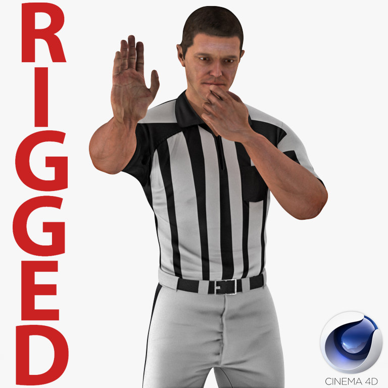 3D american football referee rigged model