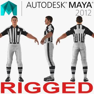 american football referee rigged 3D model