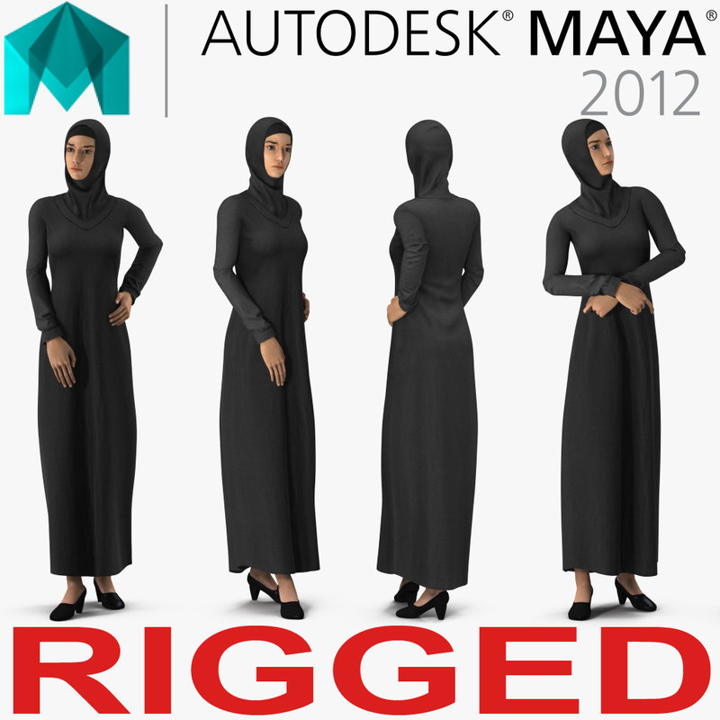 arab young women rigged 3D