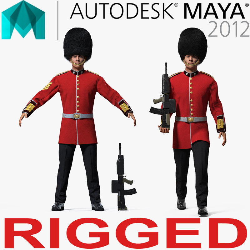 british royal guard soldier 3D model