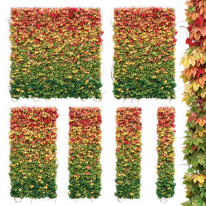 3D model wall autumn leaves set