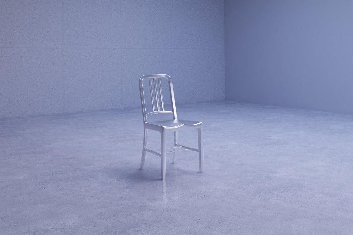 simple metal chair 3D model