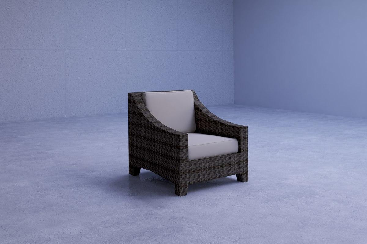 comfortable outdoor wicker chair 3D model