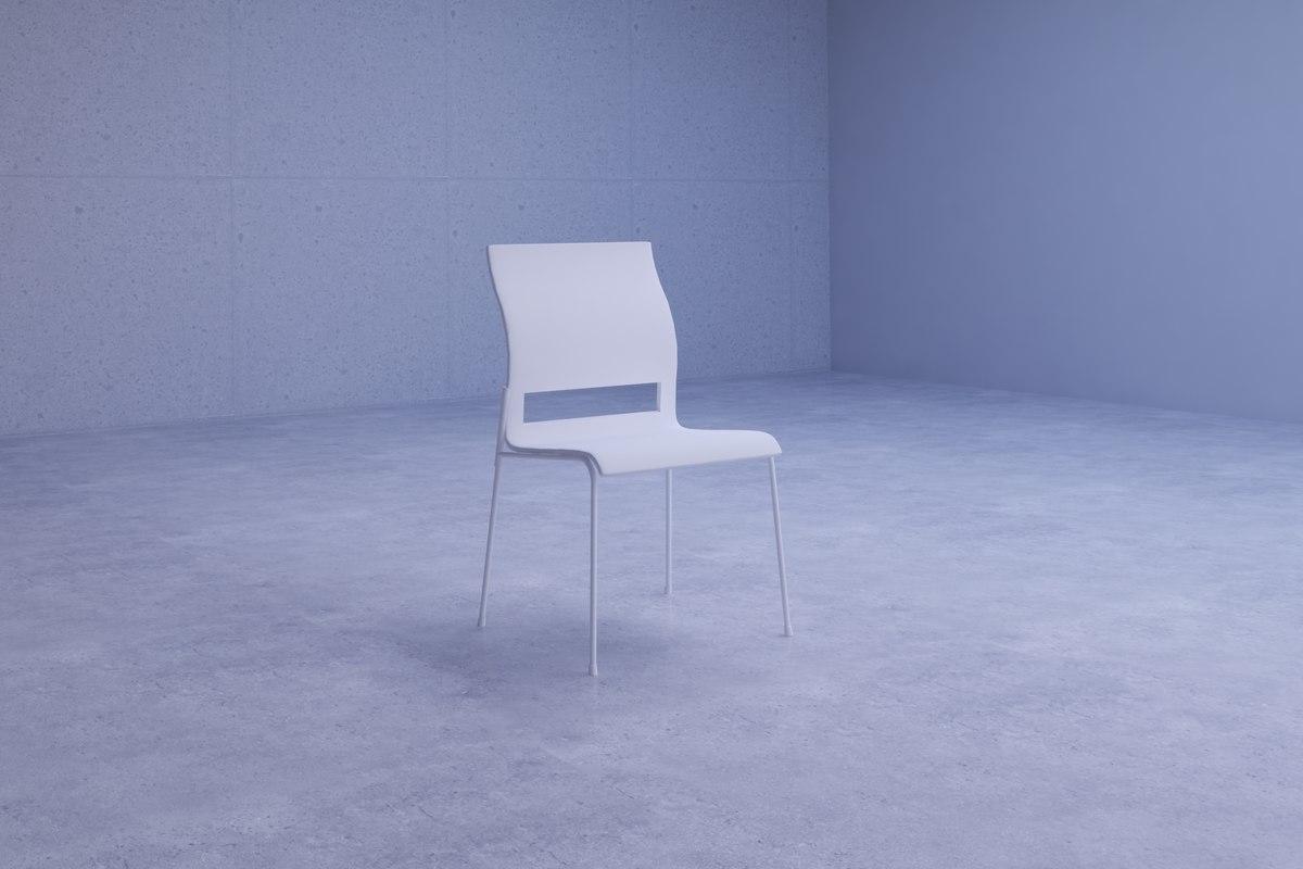 simple white chair 3D