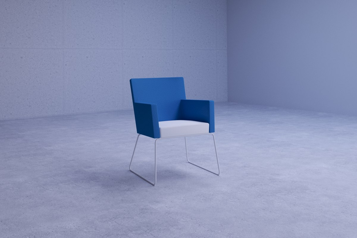 simple office coworking chair 3D model