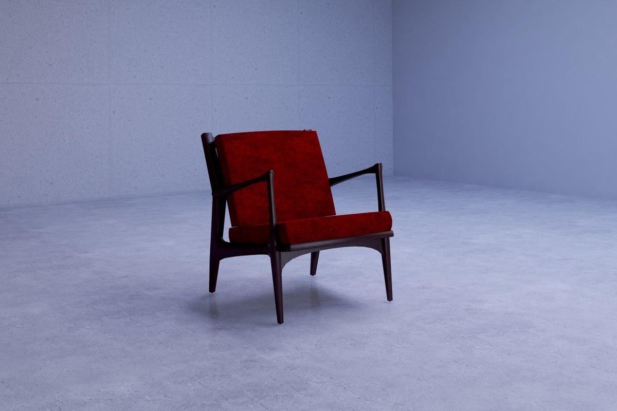 3D elegant eisenhower lounge chair
