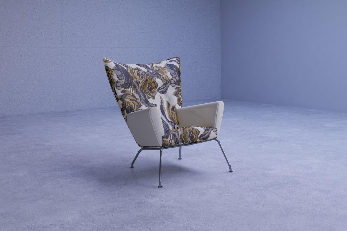 3D modern floral print chair