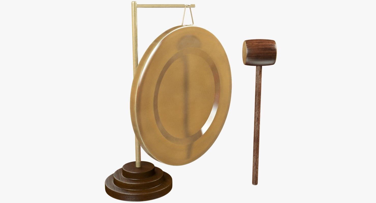 3D gong wooden hammer model