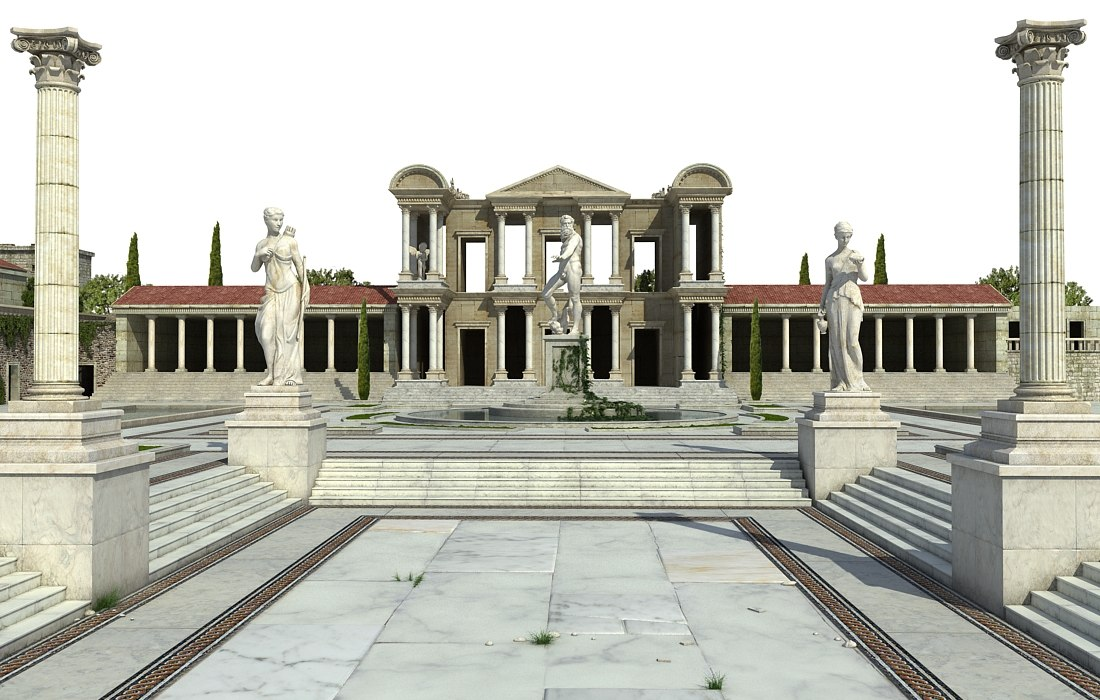 ancient greek roman temple model