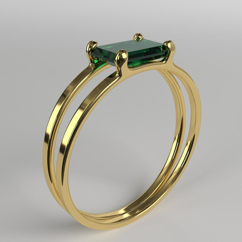 3D gold ring emerald