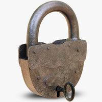 3D old padlock key