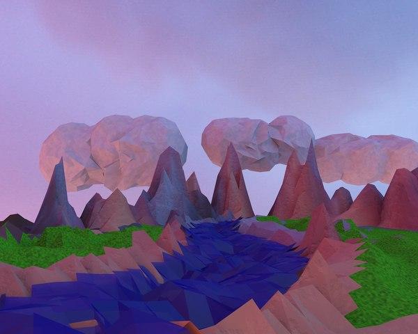 mountains river scene model