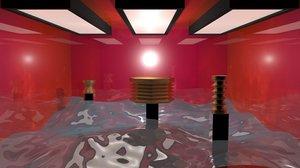 3D model lights space materials