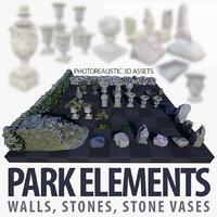 assets park walls 3D model