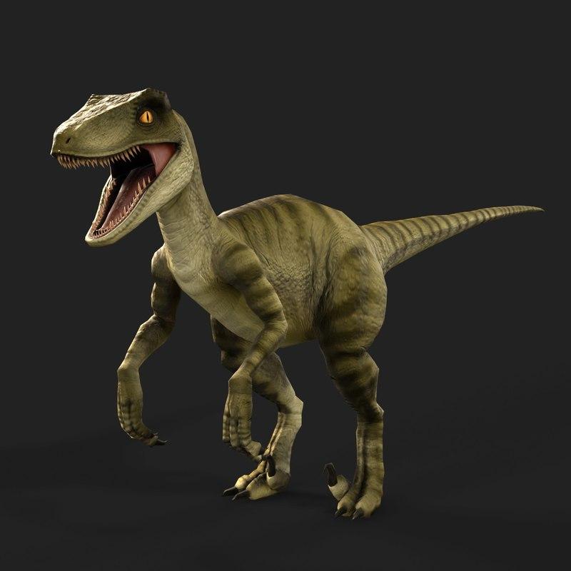 3D Velociraptor Dinosaur Games Model