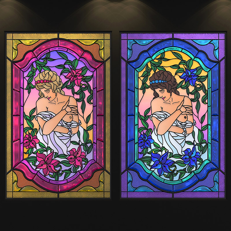 stained-glass window afrodite 3D model