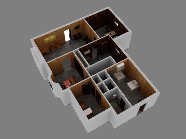 Office Floor Plan 3D Model