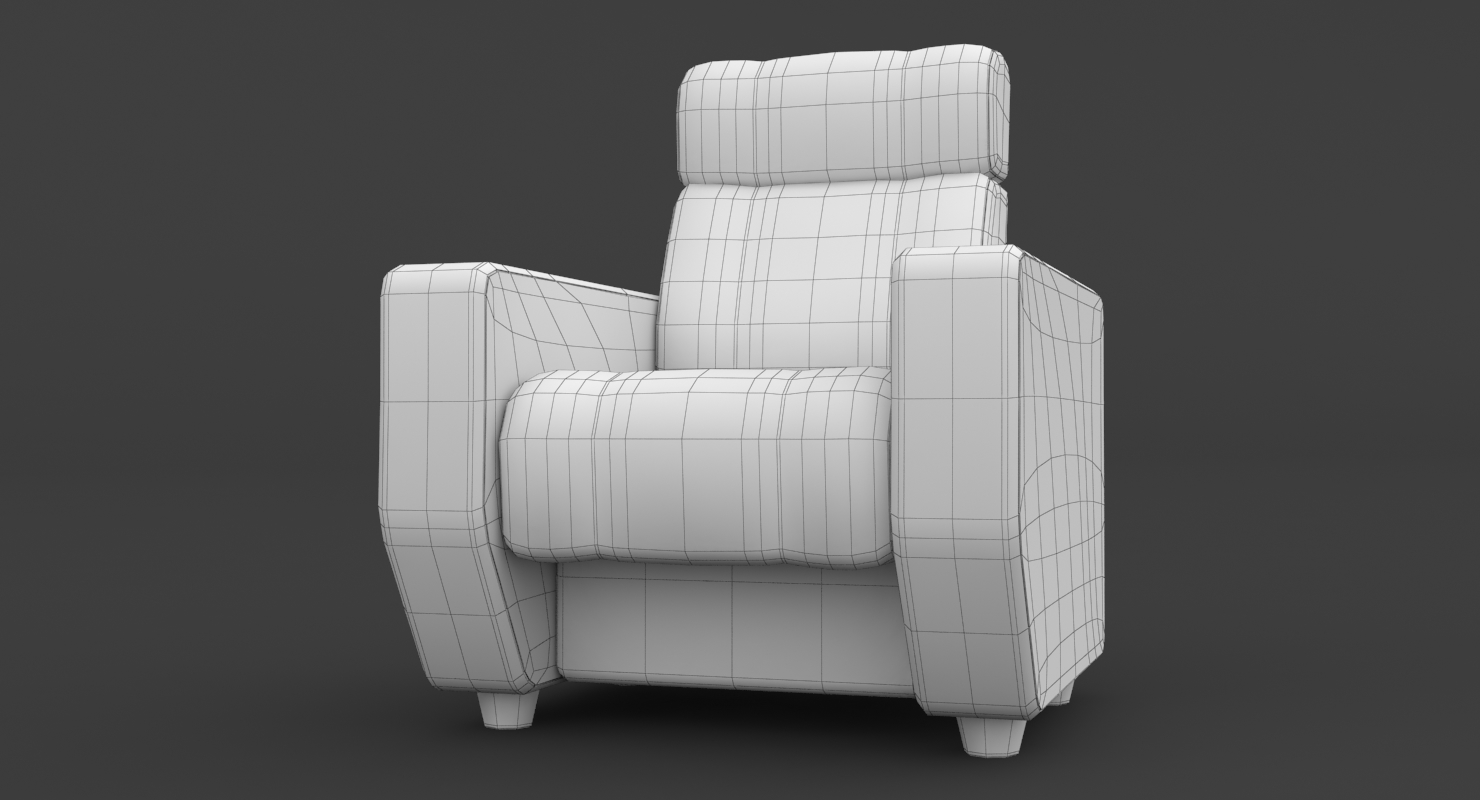 3D theater room seating model