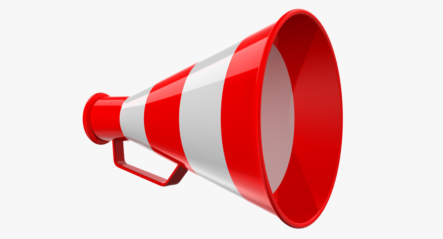 3D red megaphone model