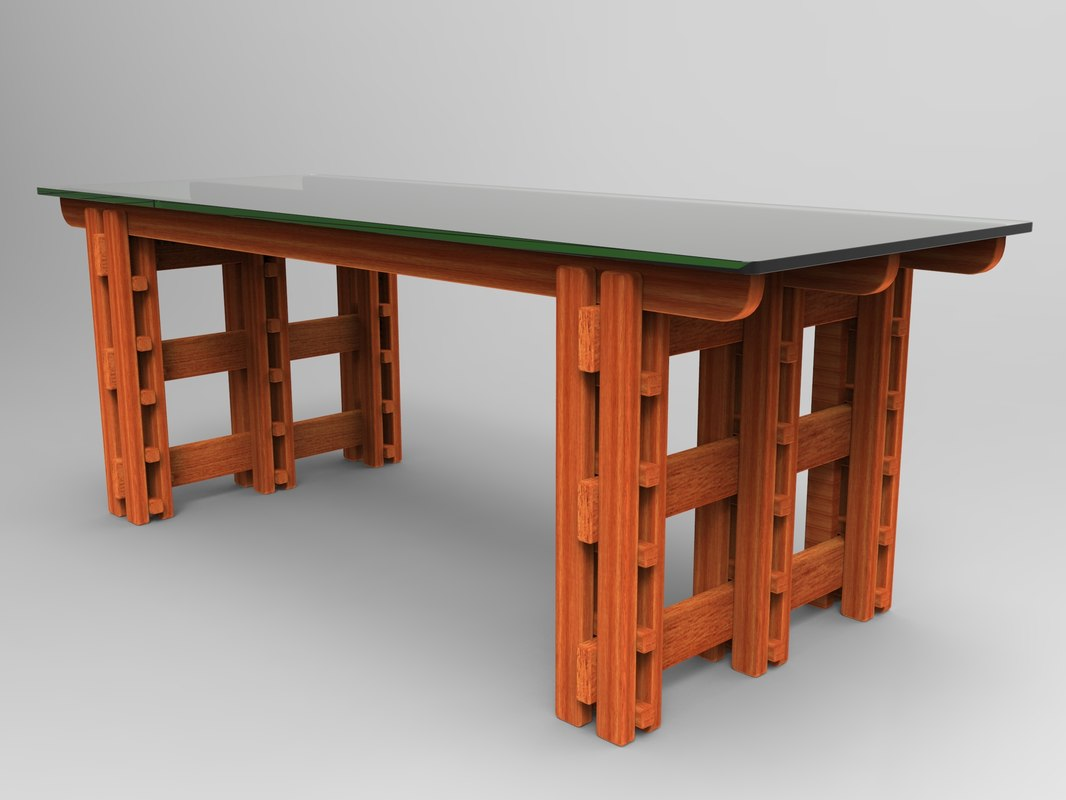 3D wood glass table