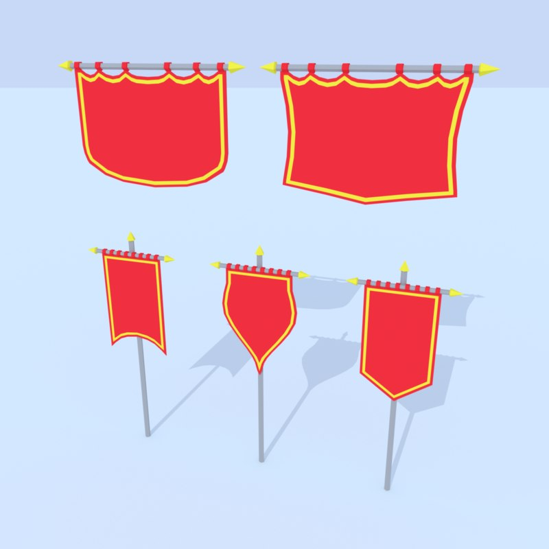 3D gameready cartoon banners