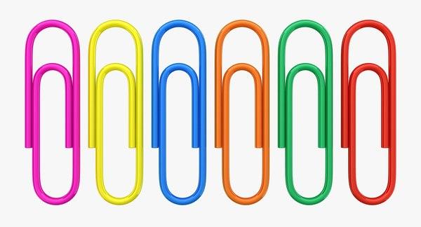 realistic paper clips 3D model