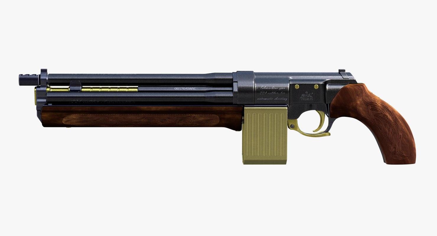 3D submachine gun tigrus steampunk