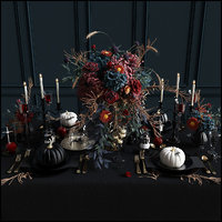 Halloween table serving