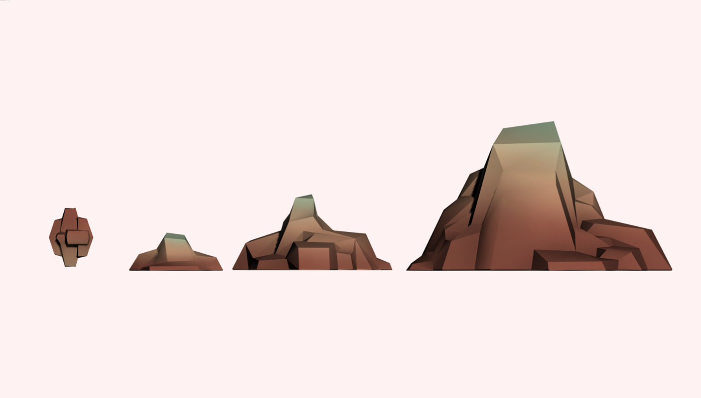 3D stylized rocks mountains