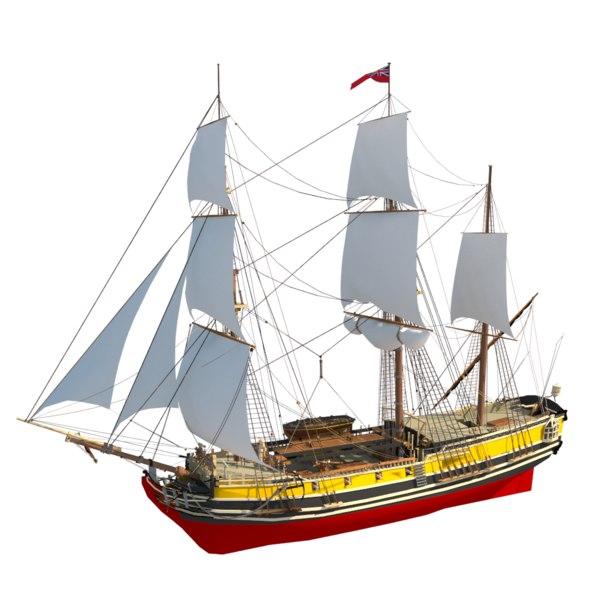 3D frigate napoleonic