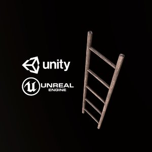 3D pbr ready wood ladder model