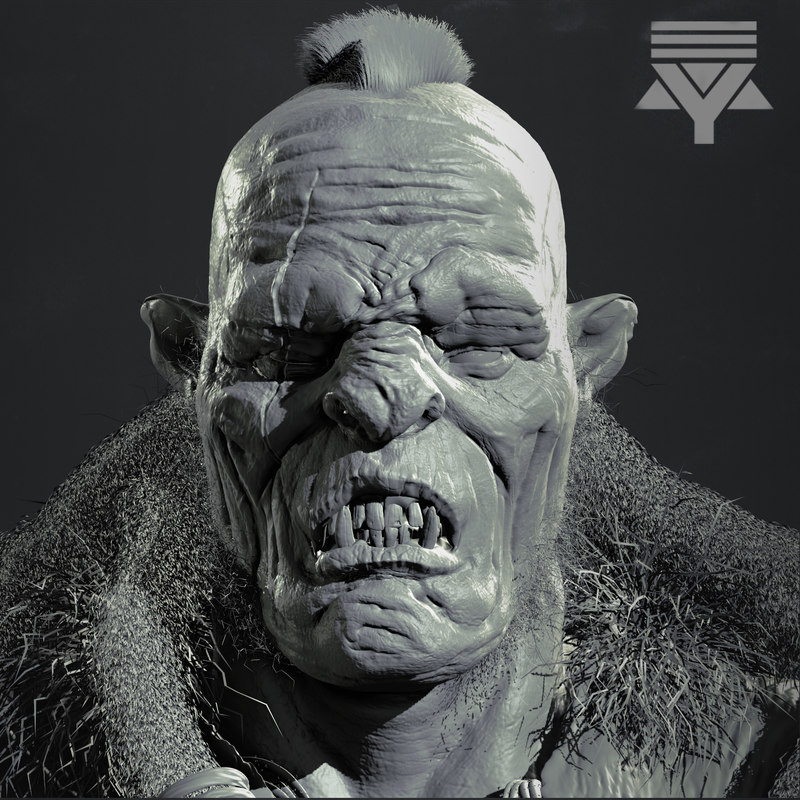 3D orc bust highpoly