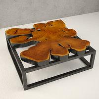 3D model teak coffee table