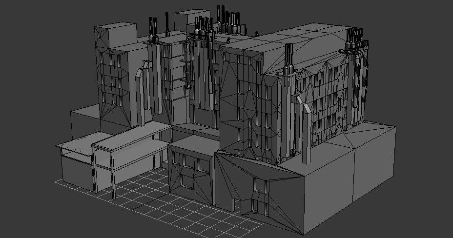3D 5 non-textured buildings