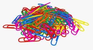 3D realistic paper clips pile model