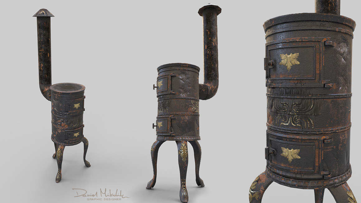 3D old stove pbr