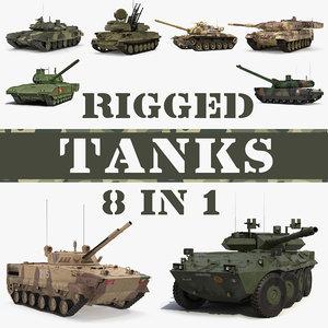 rigged tanks 3D model