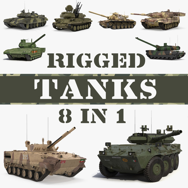 rigged tanks 3D model