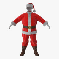 santa claus costume fur 3D model