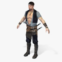 3D model real-time pirate smuggler-1 rigged