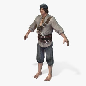 real-time pirate smuggler-2 rigged 3D model