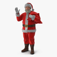 Santa Claus Holding Gift Bag with Fur 3D Model