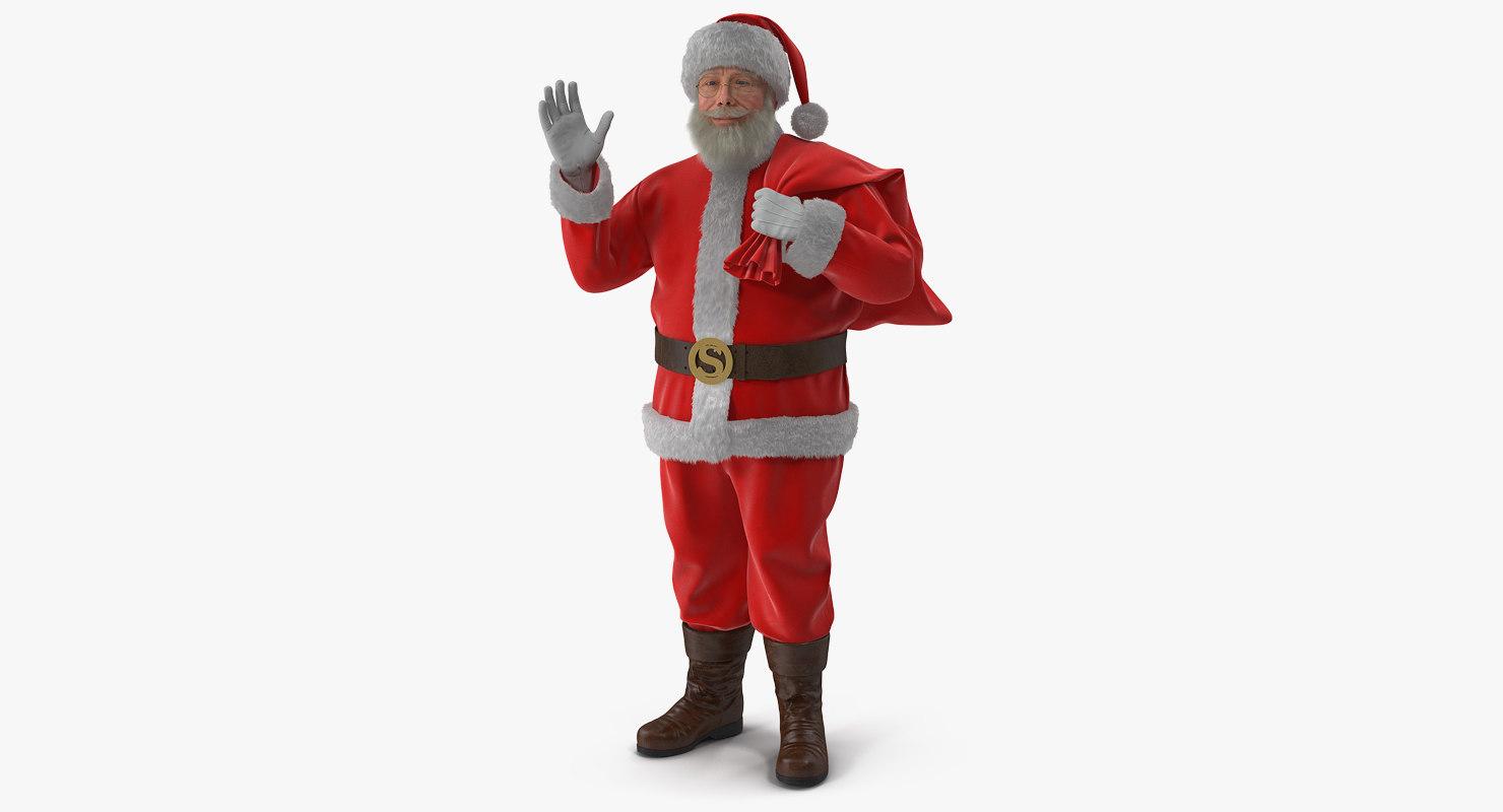 3D santa claus holding gift model