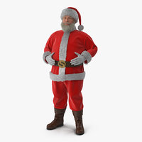 Santa Claus Standing Pose with Fur 3D Model