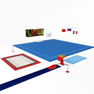 3D gymnastic vaulting table trampoline